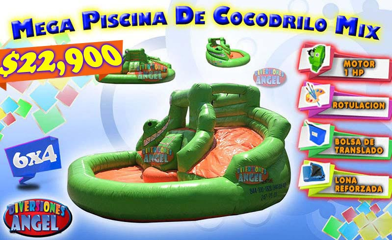 Venta de brincolines inflables mega piscina de cocodrilo for Accesorios para piscinas inflables